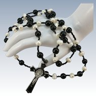 VINTAGE 80'S Rosary Pearls and Black Onyx