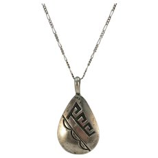 VINTAGE  Older Hopi Pendant with Sterling Chain 18 Inches