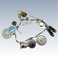 VINTAGE Sterling Charm Bracelet   12 Charms Sterling