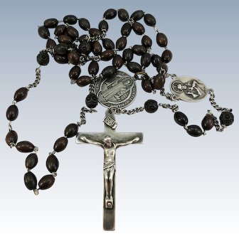 VINTAGE Rosewood Special Rosary with Sterling Cross and Mary