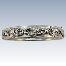 VINTAGE Whiting and Davis Silver-tone 1/2 wide Bracelet