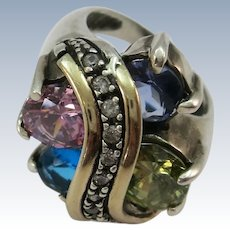 Large Designer Sterling Ring with 4 Large CZ and smaller Row CZ  Size 7