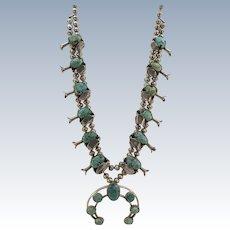 VINTAGE 60'S Squash Blossom Medium Size Lone Mountain Turquoise