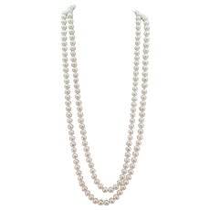 VINTAGE 48 Inch Endless Rope of Freshwater  Pearls 8mm Beautiful and Classic