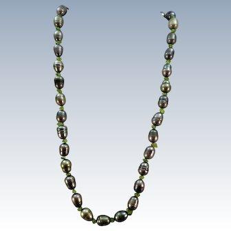 VINTAGE Freshwater Pearl Steel-Blue with Peridot Nugget