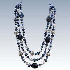 VINTAGE Three Strands of Fresh-water Pearls Several different colors and Sterling  22 Inches