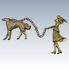 VINTAGE 1948' Coro's Adolph Katz Chatelaine Brooches Lady and Hound