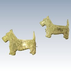 VINTAGE Two cute Gold-Colored Metal   Scotty Scatter Pins  40's