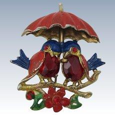 VINTAGE Cute two Blue Birds Under Umbrella  Signed