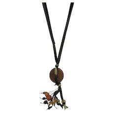 VINTAGE Jade Medallion on Silk Ribbon