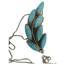 VINTAGE Zuni's Liola Hastaico Hand-made Channel  Leaf Brooch
