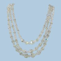 VINTAGE 50'S Aurora Borealis Crystal Three Strand Necklace  Bright and Shiny