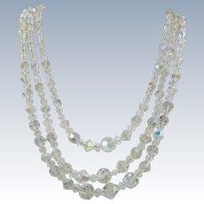 VINTAGE 50'S Aurora Borealis Crystal Three Strand Necklace  Bright and Shiny