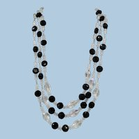 VINTAGE 50's Three Strand Crystal  Necklace with Black Faceted Beads