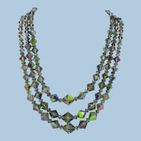 VINTAGE 50'S Aurora Borealis Crystal Three Strand Necklace  Bright and Shiny, Colorful
