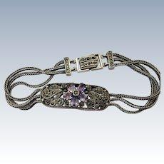VINTAGE Sterling Amethyst Bracelet with Marcasites 7 1/2 Length