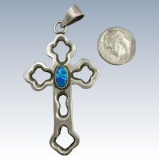 VINTAGE Mexican Silver 950 Large Cross With Man Made Opal