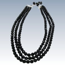 VINTAGE Three Strands Black Glass Faceted Bead Necklace