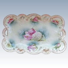VINTAGE Beautiful R.S. Prussia Dresser Tray  Flowers