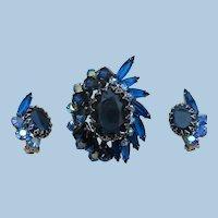 VINTAGE Dark Blue Juliana Brooch and Earrings