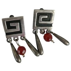 VINTAGE Mexican Silver Screw Back Earring  Signed