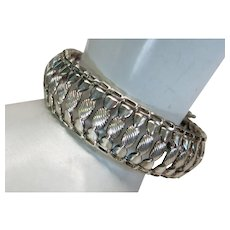 VINTAGE Made in Italy Sterling  3/4 Inch Wide Texture Bracelet