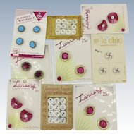 VINTAGE 9 Original Cards of Older Buttons   Aunt Sally's Buttons