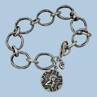 VINTAGE Larger Sterling Large Circle Bracelet  Angel  8 inches