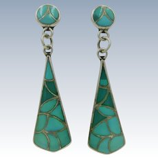 VINTAGE Native American Long Turquoise Earrings