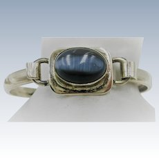 VINTAGE Sterling Mexican Silver Cat-Eye Bracelet
