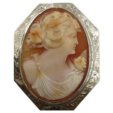 VINTAGE 10k White Gold Handcarved Large Shell Cameo Classic