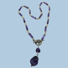 80's Old Stock Amethyst Necklace