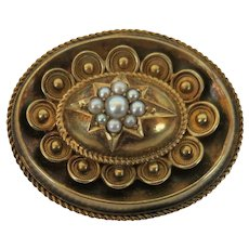 VICTORIAN  Gold Filled  Mourning Picture Brooch