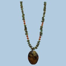VINTAGE Green Turquoise Nuggets:  Carnelian Beads  with Sea Shell Pendant