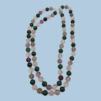 VINTAGE Endless String of Knotted Gem Stone Bead Necklace