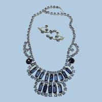 VINTAGE 60'S Blue Rhinestone Necklace and Screw Earrings