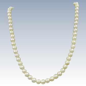 VINTAGE Fresh-water Pearls 10K clasp  Small strand 14 Inches.