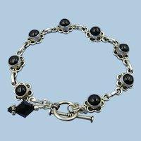 VINTAGE Sterling Small Size Onyx Flower Bracelet  7 1/2 Inch Length