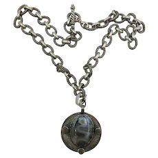 VINTAGE Heavy Sterling Chain and Pendant with Agate Setting and 3 Drusy sets