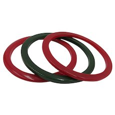 VINTAGE  Set of Three Bakelite Bracelet  Two Red and One Green