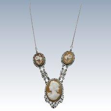 VINTAGE Antique Cameo Necklace Pre 1900  Silver 835