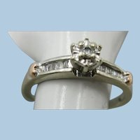 VINTAGE White Gold Size 7 Ring with 11 Diamonds