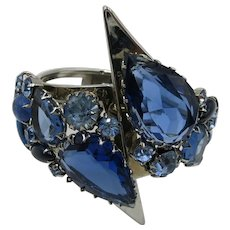 VINTAGE 60's Juliana Sapphire Blue Rhinestone Clamper Bracelet  Striking