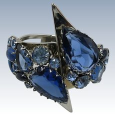 VINTAGE 60's Juliana Sapphire Blue Rhinestone Clamper Bracelet  Striking
