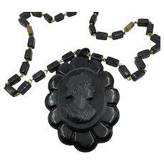 VINTAGE Bakelite Cameo and Pendant   22 Inch Black Glass Chain