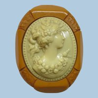 VINTAGE 30's Brooch With Butterscotch Bakelite and Celluloid Cameo Perfect
