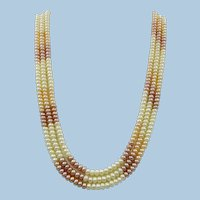 VINTAGE Three strand Potato Bead Pearl  Necklace