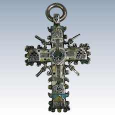VINTAGE Sterling and Enamel Very Old Cross  2 1/2 Inch