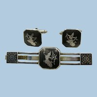 VINTAGE Nielloware Sterling Featuring the Lighting Goddess  Wide Tie Bar and Cuff Links
