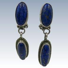VINTAGE  Clip Earring  Of Lapis-lazuli Drop Earrings  Sterling
